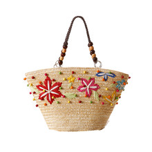 Fresh Floral Embroidery Designer Beach Bags Large Handbags Straw Bag Summer Bohemia Shoulder Bags for Women Shopping Tote L62
