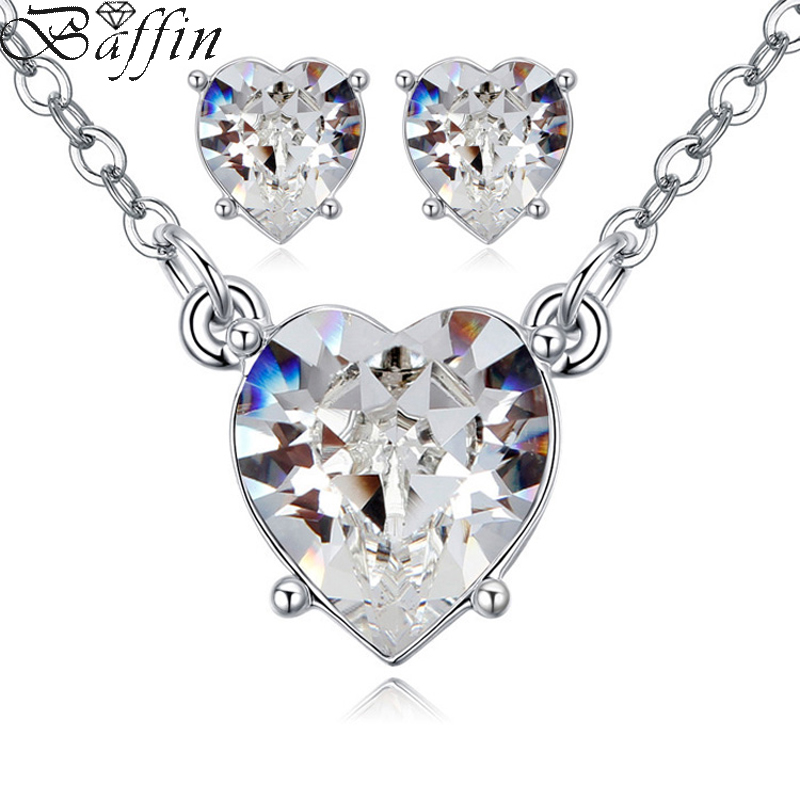 2017 Original Crystals From SWAROVSKI Antique Heart Pendant Necklaces Piercing Earrings Jewelry Sets For Girls Women's Day(China)