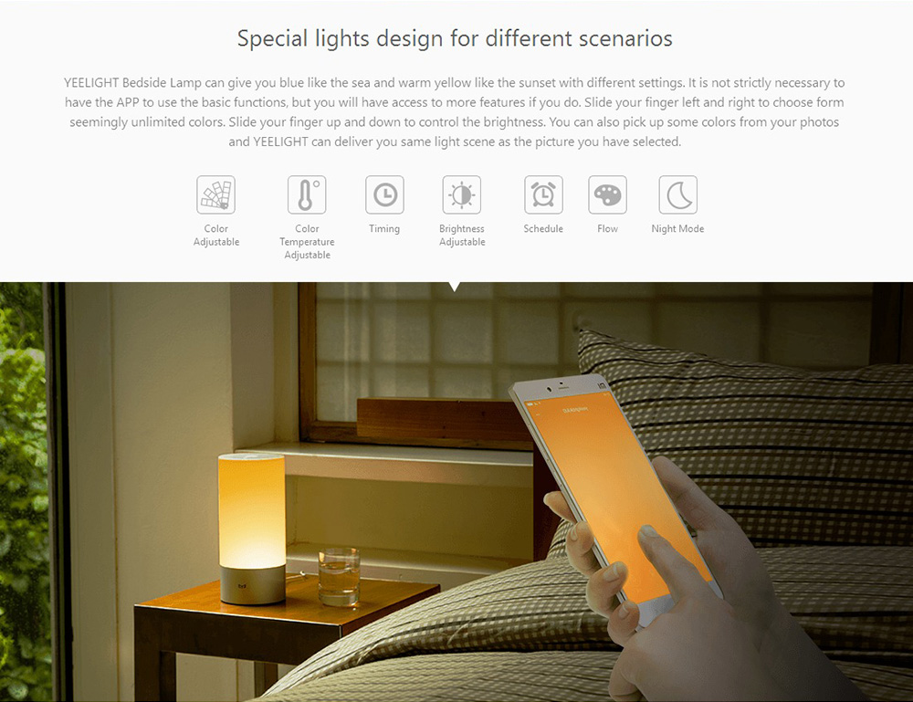 Xiaomi Yeelight Desk lamp Smart LED Bedside Table Cylinder Lamp Touch Dimmable Smartphone Remote Control Color Changing RGB