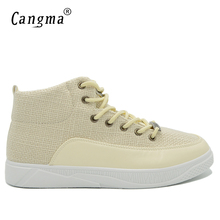 CANGMA Original Luxury Casual Shoes Men Sneakers Autumn Handmade Man Fashion Hemp High Leisure Shoes Male Vintage Beige Trainers(China)