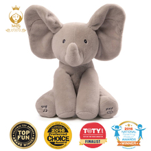 "12"" Plush ANIMATED FLAPPY electronic ELEPHANT plush toy PEEK A BOO SINGING baby music toy Ears Flap And Move funny toys(China)"
