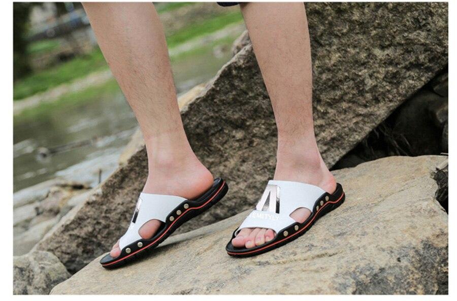 Plus Size Summer Slippers Outdoor Men Casual Sandals Beach Shoes Split Leather Non-Slip Flip Flops Mens Flats Euro 38-45 DR007 21 Online shopping Bangladesh