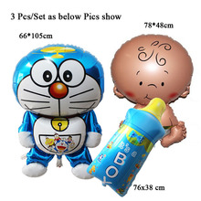 3Pcs/Lot ballons birthday balloon delivery toys baby bottle doraemon party gift birthday decoration baby party balloons(China)