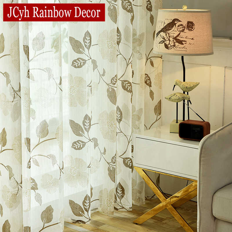 Peony Line Sheer Curtains For Bedroom Voile Tulle Curtains For Kitchen Window Curtains Living Room Rideau Voilage Vliegengordijn