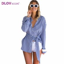 Cropped Feminino New Turn-down Tops Casual Sexy Striped Women Clothing blusas 2017 Summer Tank Tops Button Full Sleeve TS104(China)