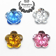 50pcs 16mm Clear/Pink/Blue/Gold Resin Bling Flower Flatback Cabochon DIY Scrapbooking Phone/Wedding Craft