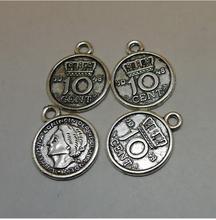 50pcs/ Coin Charms, 15x19mm Antique Silver Tone 10 Cent Coin Charms Pendant, Bracelet/Necklace Charms
