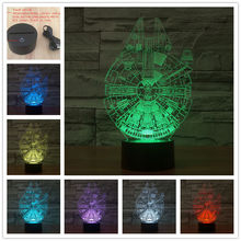 AUCD Creative 7 Colors 3D Robotech Acrylic Visual Light LED Lamp Bedroom Table Decoration Lamps Night Light Gifts 3D-TD02