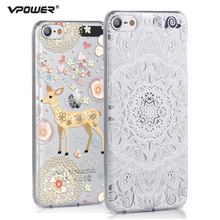 Vpower for apple ipod touch 6 case, 3D Relief Print Back Flip Cover Phone Bag for ipod touch6 Phone Cover Case+Screen Film(China)