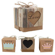 50pcs/Batch Decor Candy Box Brown Gift Box Wedding Retro Box Heart and Crown Kraft Paper Romantic Present for Guest Party Supply(China)