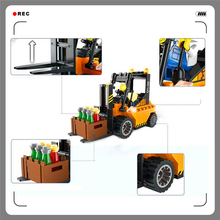 With Gift+Building Blocks Forklift Truck 115Bricks Assemble Toy Interlocking Construction Brinquedos For Kids+Factory Price