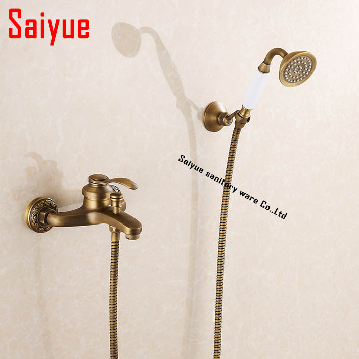 Antique Brass exposed Bathroom Bath &amp; shower  Faucet  Hand Held Shower Head Kit Shower Faucet Sets<br><br>Aliexpress