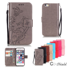 "for Apple iPhone 6S 6 S 4.7"" inch single embossed pattern leather case fashion card slot bracket wallet clamshell phone cover"