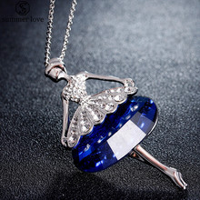 Cute Doll Necklace Long Chain Pendant Rhinestone Necklaces for Women Girl Modern Design Crystal Dress Baby Statement Jewelry(China)