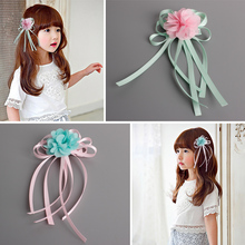 Cute Fashion Children's Hair Accessories Ribbon Flowers Hairpins Girls Headwear Baby Hair Clips Princess Barrette Kids Headdress