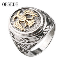 OBSEDE New Punk Gold Bird Ring Vintage Military Ring Silver Color Alloy Jewelry Gothic Cool Signet Wedding Party Gift(China)