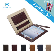 Luxury PU Leather Case for iPad 2 3 4 Retro Briefcase Auto Wake Up Sleep Hand Belt Holder Stand Bags Cover for iPad2 iPad3 iPad4