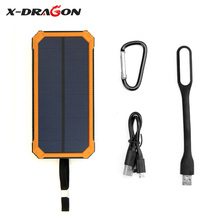 Portable Solar Charger Solar Power Bank 15000mAh With LED Lamp External Battery for iPhone Samsung HTC nexus ipad YOGA Tab etc.(China)