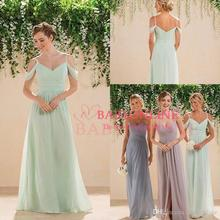 2017 Sage Lime Green Off Shoulders Chiffon Bridesmaid Dresses V-neck Ruched  Courty Style Cheap Boho Maid of the Honor Dresses