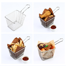 "1 PC 10.2cm/4"" Stainless steel French Fries Basket Kitchen Skimmers Chips Strainers Food Class Wire Woven Kitchen cooking Tool(China)"