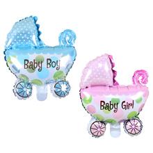 Baby Stroller Foil Balloons Baby Shower Baby Carriage Boy Girl Balloon Inflatable Toys Party Decorations Children Birthday(China)