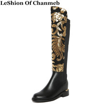 Winter Footwear Large Size Thick Heel Brand Women Glitter Knee High Boots Causal Warm Lady Sequined Real Leather Boots Ethnic