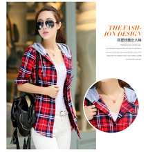 2016 NEW Spring and Autumn Plus Velvet Thick Warm Plaid Shirt Sleeved Women'S Plaid Blouse free shipping Even a hat Cap female