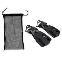 Black Adult Comfortable Scuba Diving Swimming Fins Flippers with 50 x 23.5cm Dive Gear Storage Mesh Bag