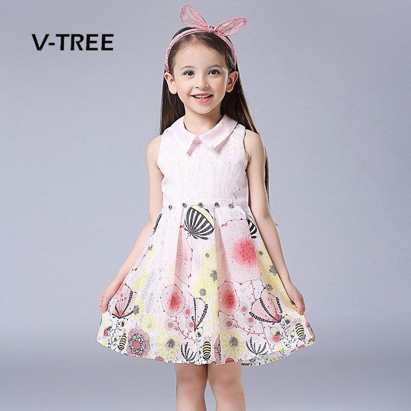 V-TREE Summer Girls Dress Sleeveless Girls Princess Fancy Dress Teenagers Dress For Girls Lace Kids Sundress 3-10 Year<br><br>Aliexpress