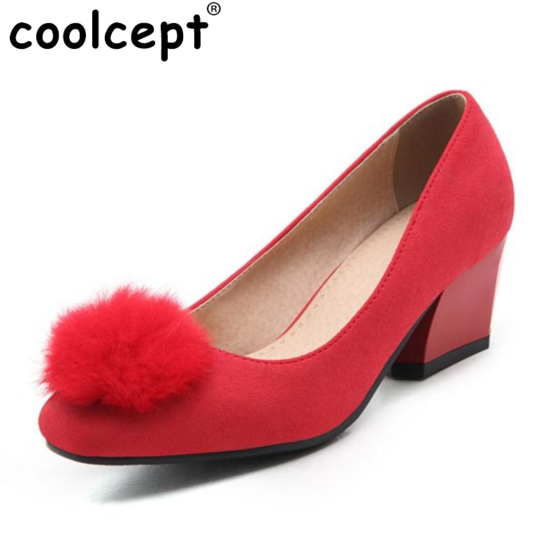 Size 31-47 Ladies High Heel Shoes Women Slip-On Flower Round Toe Pumps Square Heels Fashion Casual Soft Zapatillas Mujer<br>