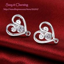 E579 High Quality! Offer Mixed Wholesale Silver Plated Zircon CZ Zircon Jewelry Creative Love Heart Ear Studs  Earrings