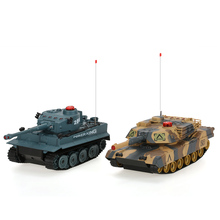 2Pcs HUAN QI 508-10 1/32 USA M1A2 and German Tiger 1 H1  Infrared Fighting RC Battle Tank with Sound and Lights RC Tank Toys