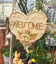 Small Garden Decoration Courtyard High-end Resin Patio Welcome Angel Doorplate Card Tablet Yard House decor Door Card Listing(China)