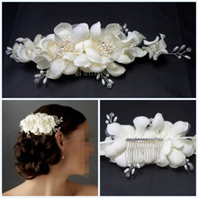 Rhinestone Wedding Metal Hair Comb Vintage Crystal for Bridal with Pearls Flowers White Professional Accessories bijoux cheveux