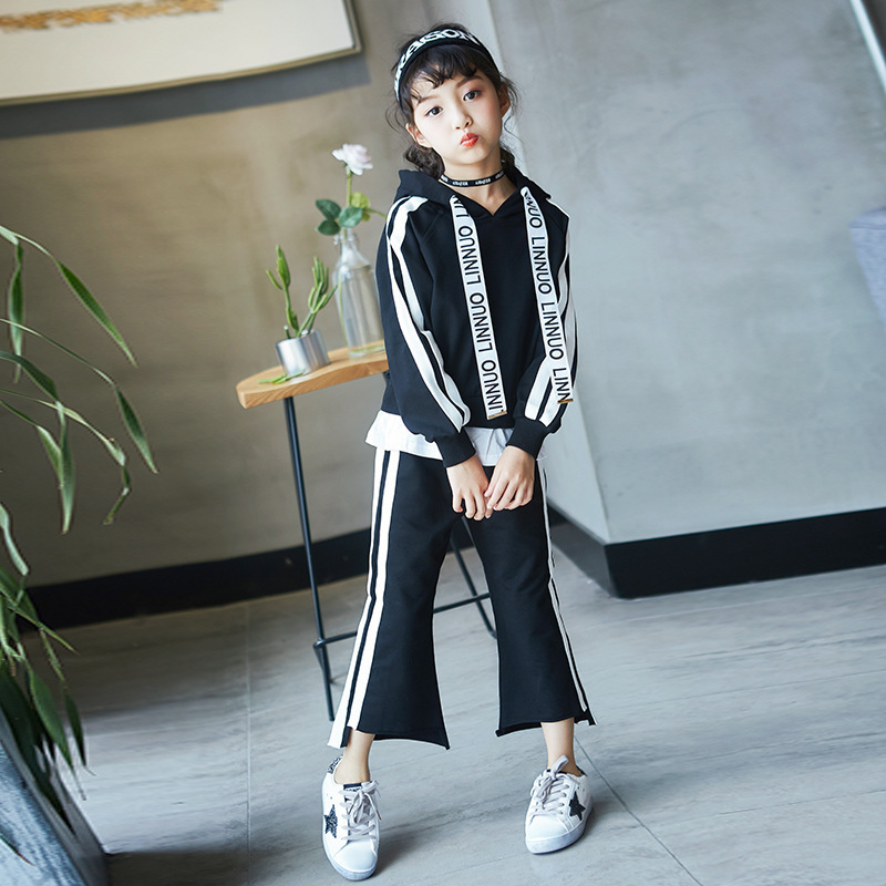 Childrens Garment Girl Weave Bring Leisure Time Suit 2017 Pure Cotton Long Sleeve Even Midnight Leisure Time Wide Leg Pants <br>