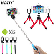 Best Selfie Set! 3-in-1 Wired Selfie Stick+ Flexible Octopus Tripod+ Clip Phone Mount Holder, Stand Display Camera Selfie Tripod