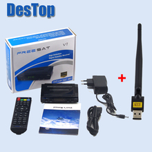 20pcs/lot [Genuine] Freesat V7 satellite recever DVB-S2 with Cccamd powervu youporn youtube freesat v7 set top hd box+wifi(China)