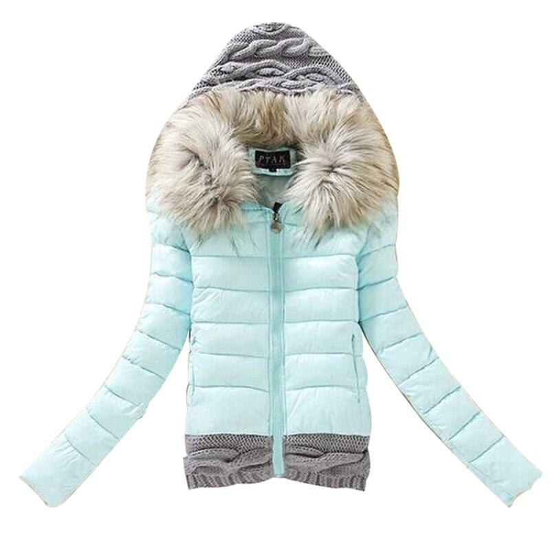 Womens Knit hooded fur collar 5 colors winter jacket,short parka,cotton padded coat,female parkas,fashion women coats&amp;jacketsÎäåæäà è àêñåññóàðû<br><br>