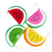 14.5*9CM Cute Cartoon Coin Cards Wallet Watermelon Pattern Plush Purse Bags Free Shipping SY3119
