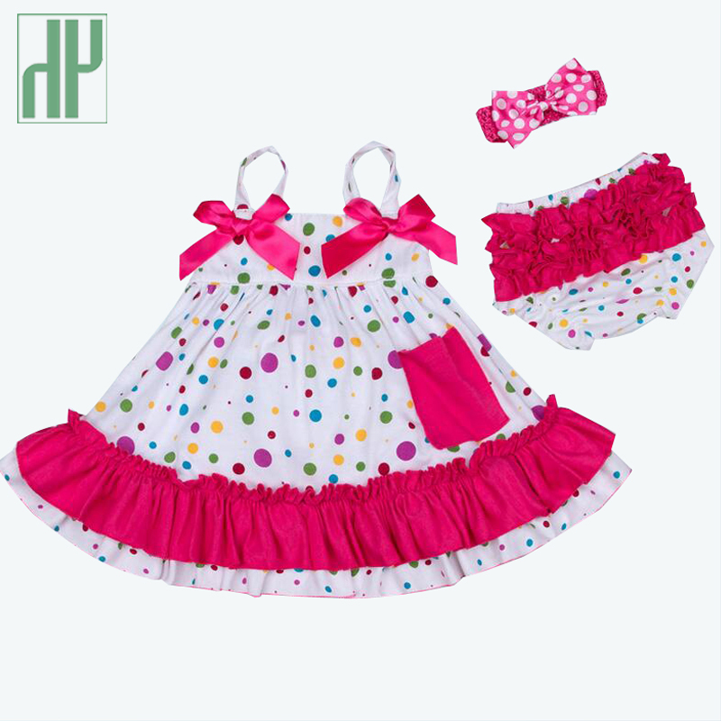 Newborn Baby Girl Clothes 3pcs Cotton Baby Clothing Set 1st birthday outfits baby girl summer Clothes T-shirt+Ruffles+headband(China (Mainland))