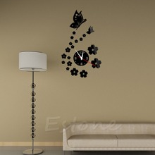 Fashion 3D Acrylic Mirror Style Butterfly Wall Clock Sticker DIY Modern Design Free shipping