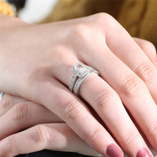 2017 Fashion Double Halo Finger Ring Princess White Zircon Engagement Jewelry For women(China)