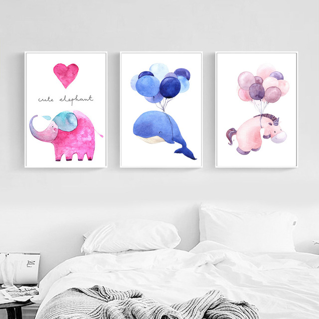 Nordic-Style-Watercolor-Whale-Elephant-Horse-Posters-and-Prints-Wall-Art-Canvas-Painting-Decorative-Picture-Kids.jpg_640x640