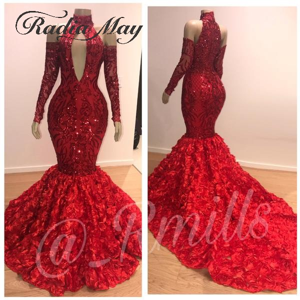 Red Sequin Mermaid Long Sleeves Off Shoulder Prom Dresses 2019 Long Fashion High Neck Keyhole 3D Flowers Court Train Gala Dress