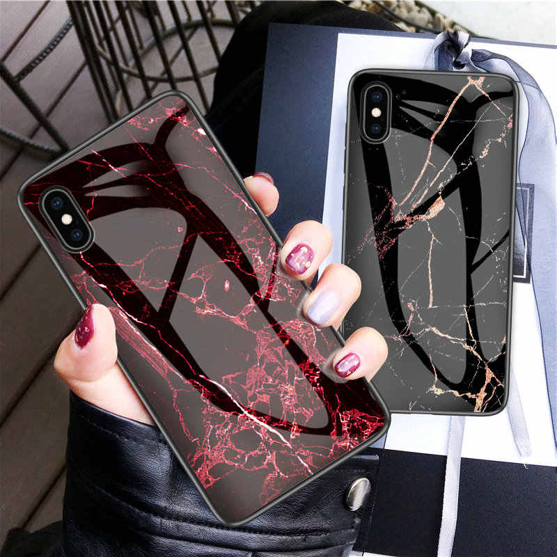 150pcs/lot For iPhone XS Max XR XS Hard Case Marble Grain Tempered Glass Hard Back Case For iPhone 8 7 6S Plus