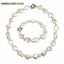 Peanut gourd shape choker statement necklace bracelet pearls set irregular keshi white color reborn natural freshwater pearl