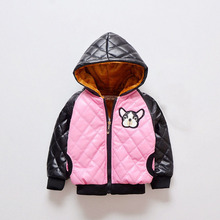 Winter Kids Girls Coat Children Pretty Pink Baby Jacket Cute Thick Fleece Leather Jacket For Girls Fashion Plaid Hooded Jacket(China)
