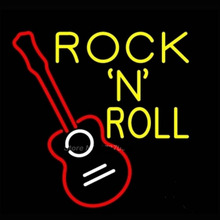 Rock N Roll With Guitar Neon Sign Neon Bulbs Recreation Room Garage Real Glass Tube Gifts Real Glass Tube Store Display 17x14