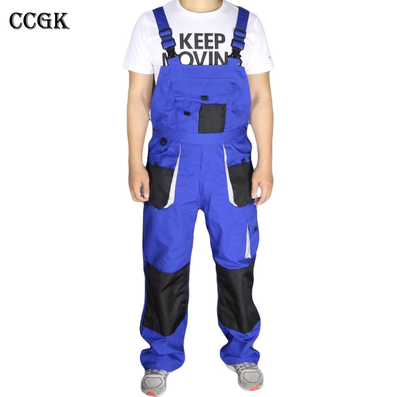CCGK bib overalls men blue work coveralls locomotive repairman strap jumpsuit pants work uniform sleeveless overalls big pockets<br>