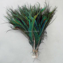 2015! 500pcs 12-14 inches / 30-35cm Natural Peacock Feather Sword Symmetrical For Wedding Decoration(China)